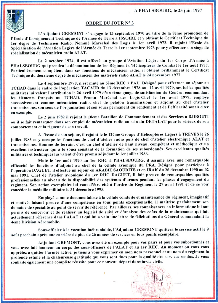 Ordre du jour n° 3 du chef de corps du 1° rhc de phalsbourg